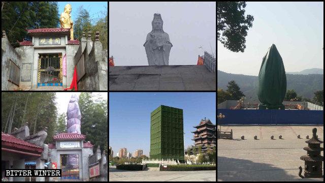 molte statue di soggetto buddhista sono state coperte
